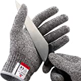 NoCry Cut Resistant Gloves - Ambidextrous, Food Grade, High Performance Level 5 Protection. Size Medium, Complimentary Ebook