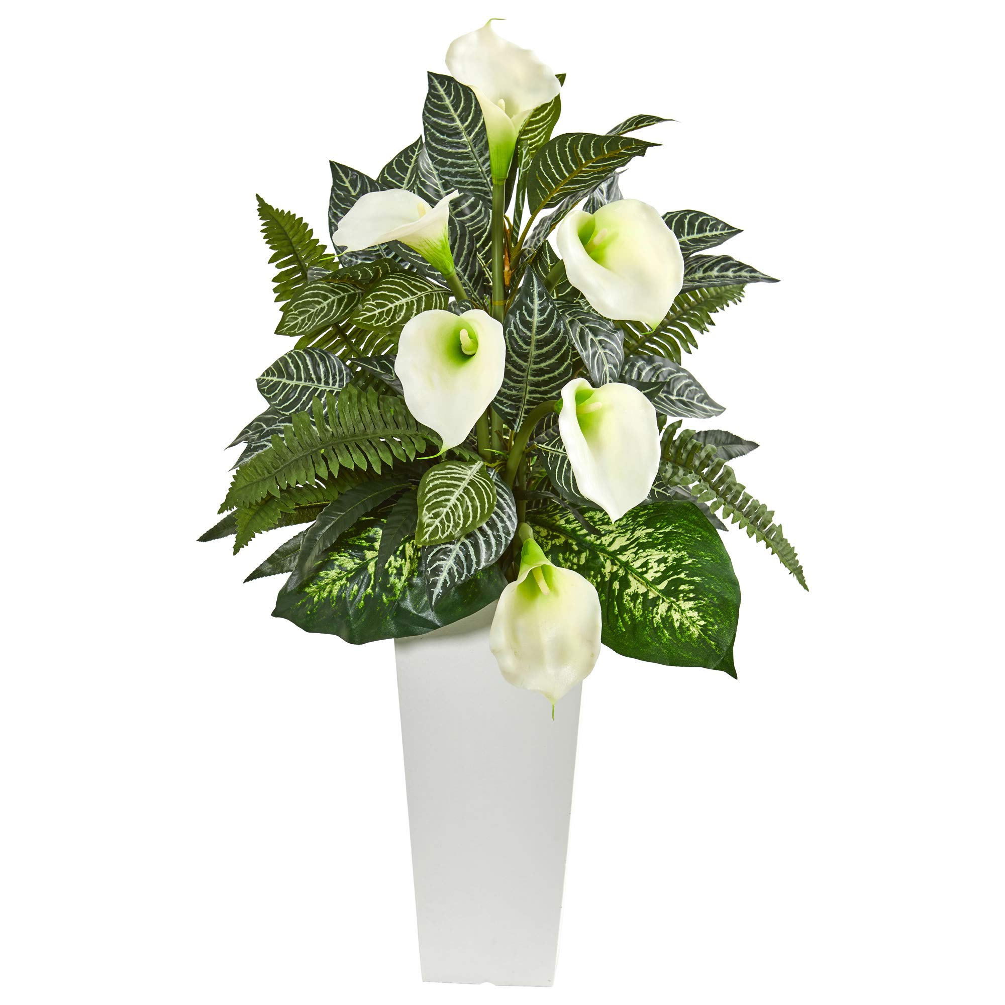 Nearly Natural 8429 3-Ft. Calla Lily and Mixed Greens Artificial White Vase Silk Plants by Nearly Natural