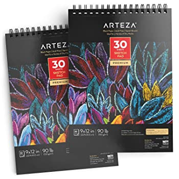 """Arteza 9"""" x 12"""" Black Sketch Pad For Charcoal Drawing"""