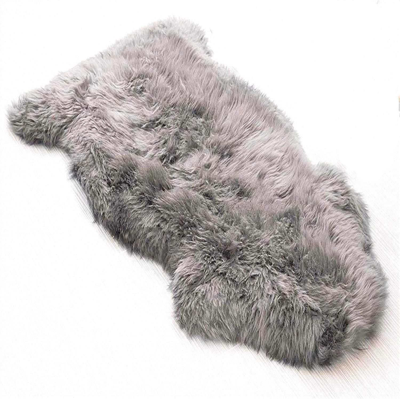 LIYINGKEJI Pelliccia Sintetica Tappeto Vello di Pecora 60 x 90 cm con Lana Spessa Tappeto (Bianco)