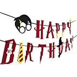[UPGRADED] Harry Potter Party Supplies – Happy Birthday Banner Felt Garland Party Decoration, Red