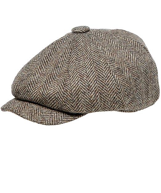 4e207346 Holland Cooper Tweed Herringbone Baker Boy Cap Brown: Amazon.co.uk: Clothing
