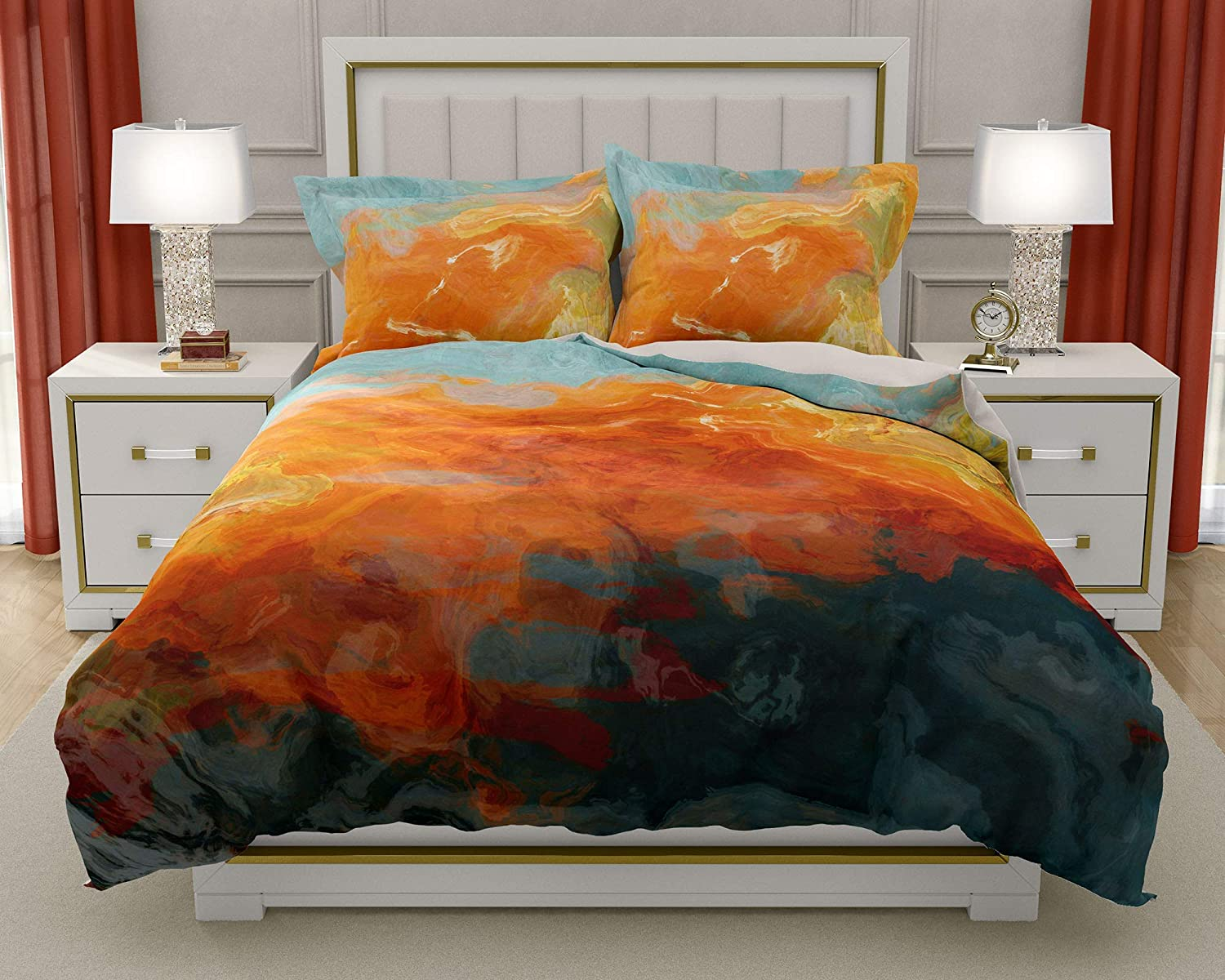 Image of Home and Kitchen King or Queen 3 pc Duvet Cover Set with abstract art, Electric