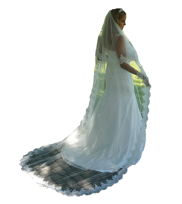 Schleier 250 cm Brautschleier 2 Lagen SOFT Kamm Perlen Hochzeit Braut Kapelle
