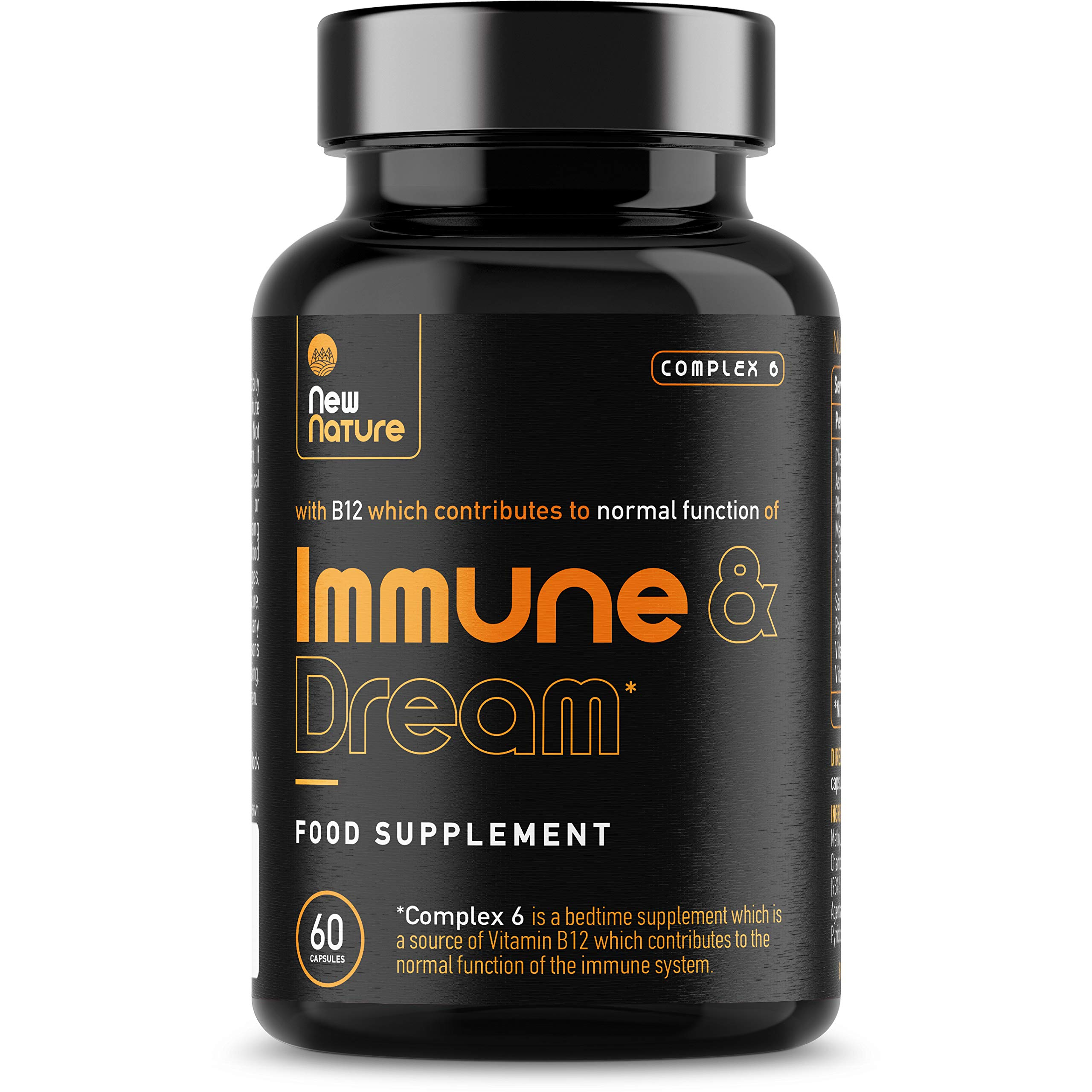 Complex 6 - Immune & Dream - The Bedtime Sleep Aid Supplement with Vitamin B12 to Support The Immune System - Natural Melatonin for Sleep - 60 Vegan Capsules (30 Day Supply)