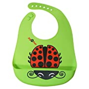 Green Silicone Bib for Infants Toddlers w/ Ladybug