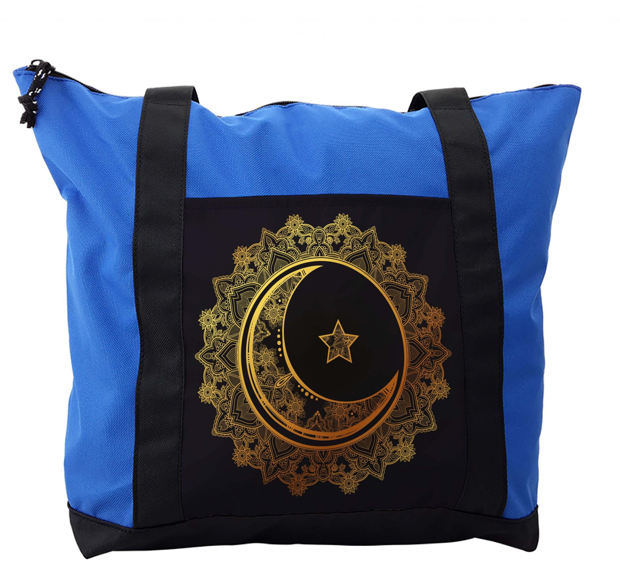 Lunarable Mandala Shoulder Bag, Crescent Moon Arabic Star, Durable with Zipper