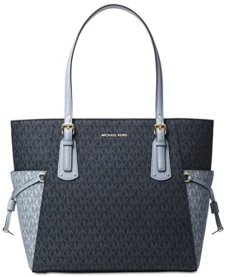 baf2261103c0b Amazon.com  Michael Kors Women s Jet Set Travel Small Logo Tote Bag  (Admiral Pale Blue Gold)  Cell Phones   Accessories