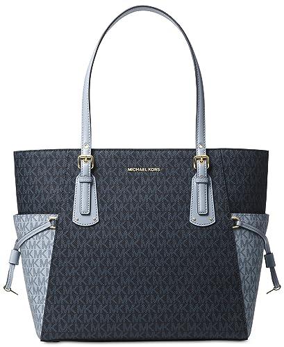 731b5bad372d Michael Kors Women's Jet Set Travel Small Logo Tote Bag (Admiral/Pale Blue/