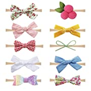 Baby Girl Headbands and Bows Nylon Hairbands Hair Bow Accessories for Newborn Infant Toddler Girls (Bows-B-10PCS)