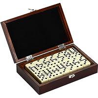 Hathaway Premium Domino Set con Funda de Transporte de Madera Premium Domino Set con Funda de Transporte de Madera, Nogal
