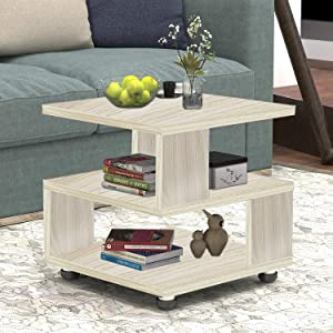 Jerry & Maggie - Magic Cube Nightstands Japanese Tatami Classic Modern Style - 2 Tier Rectangle Hallow Design Night Stand Storage Bedside Table Storage White Wood Tone