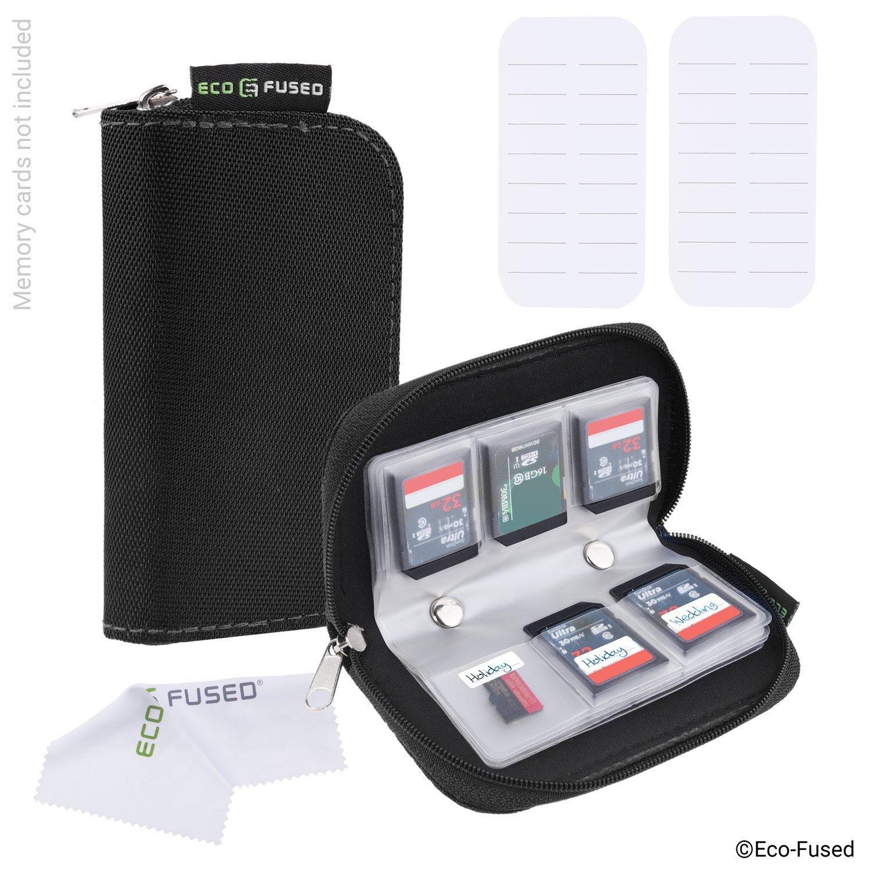 Custodia Memory Card – Confezione da 2 – Conserva fino a 22x SD, SDHC, Micro SD, Mini SD e 4x CF – Custodia con 22 Slot (8 Pagine) - per Conservazione e - Nero (2x) Eco-Fused D0322-MC2-BLA