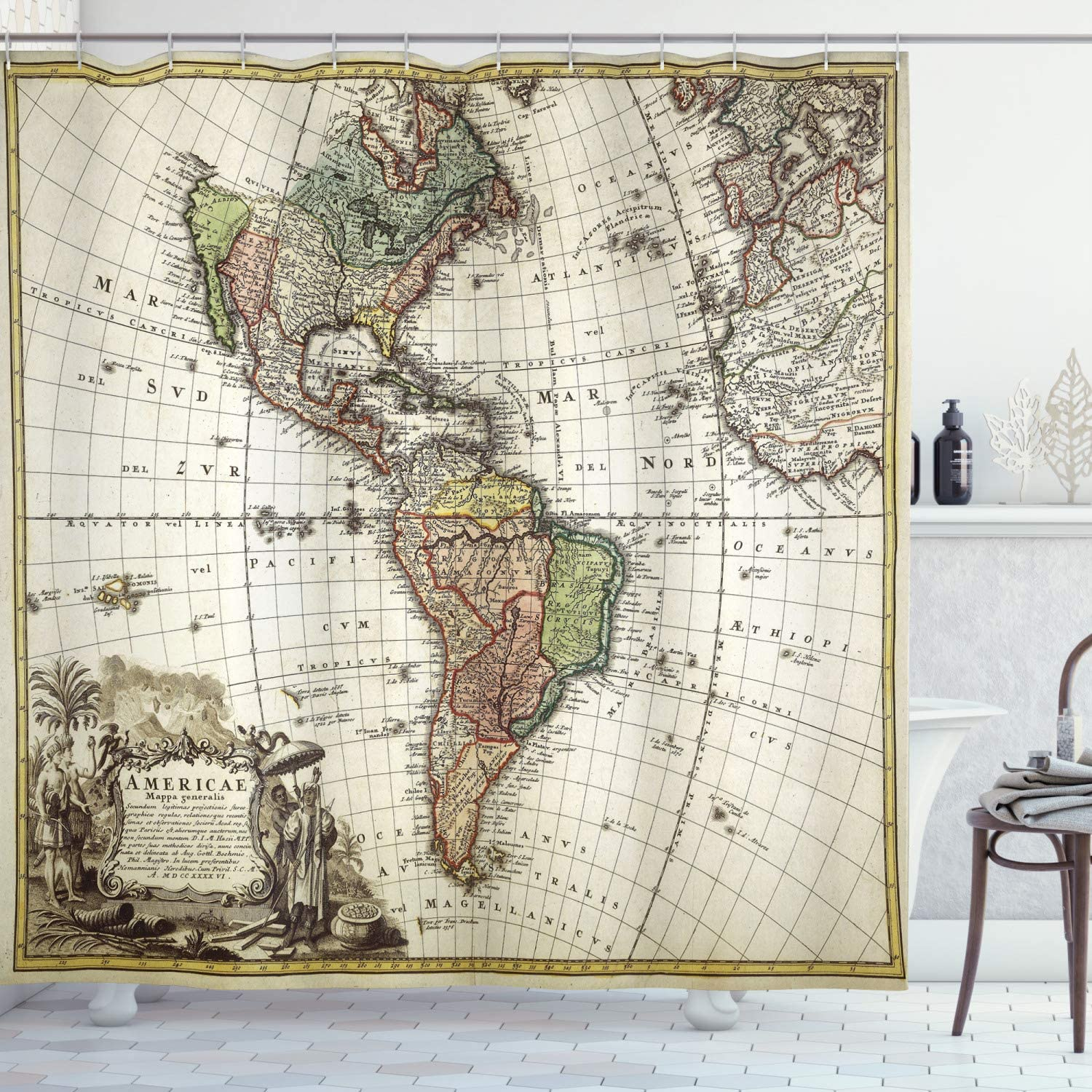 Ambesonne Wanderlust Shower Curtain, Old Map Europe North South America Canada Medieval Atlantic Heritage Travel, Cloth Fabric Bathroom Decor Set with Hooks, 70
