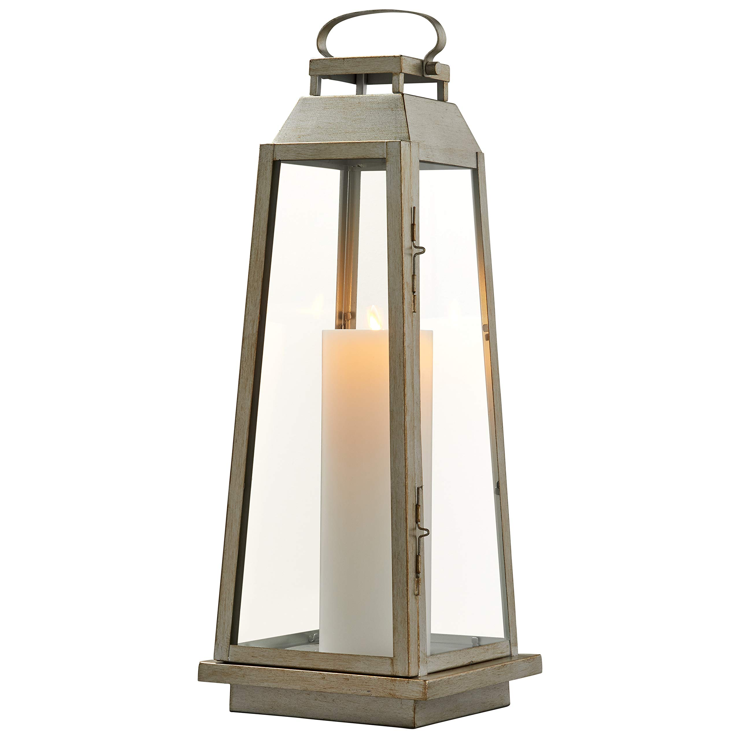 Stone & Beam Modern Traditional Decorative Metal and Glass Lantern with Candle, 25''H, Champagne Silver, For Indoor Outdoor Use by Stone & Beam (Image #4)