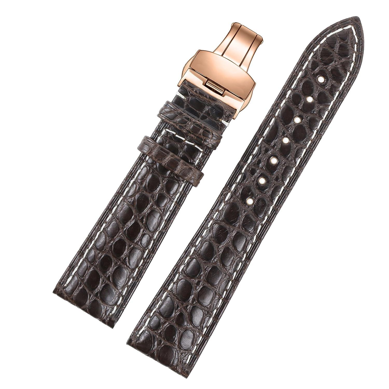 女の子のための13ミリメートルダークブラウントップグレードの高品質なワニのグレインエンボスレザーの時計バンドのブレスレットは、ラウンド本物のワニ革をスケーリング  B072LV6593