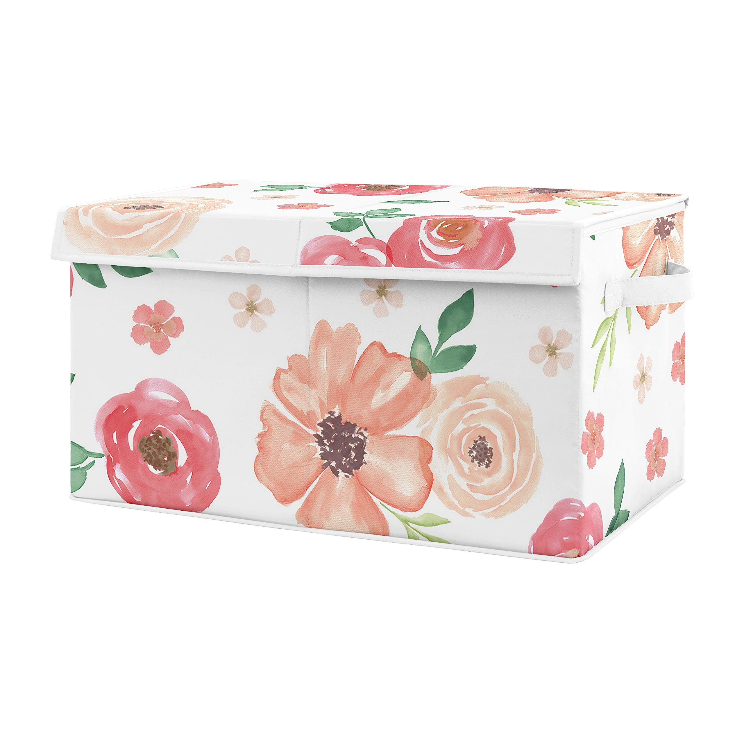 Sweet Jojo Designs Peach and Green Rose Flower Girl Baby Nursery or Kids Room Small Fabric Toy Bin Storage Box Chest for Watercolor Floral Collection by Sweet Jojo Designs