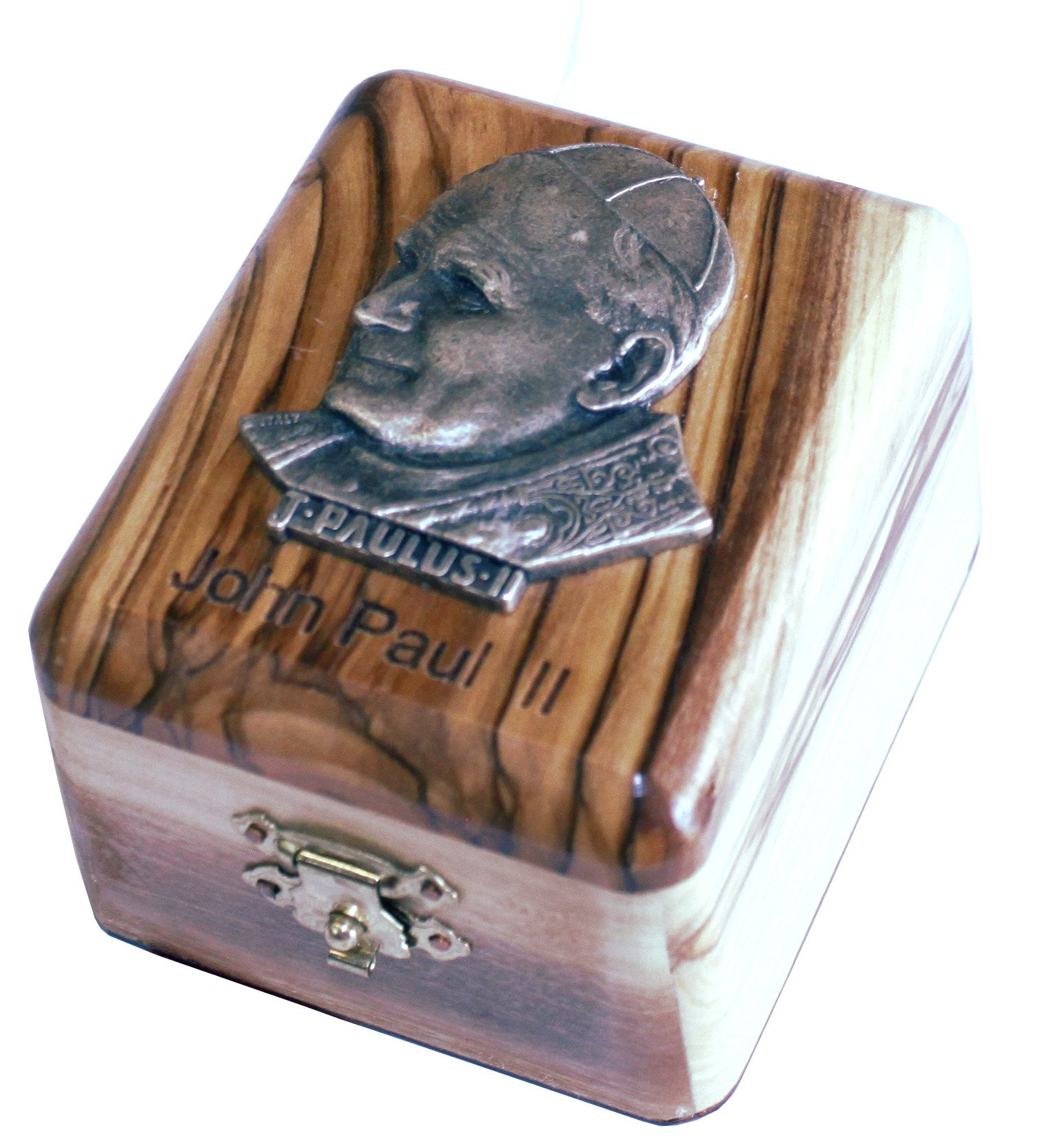 First Communion Box - Rosary Box - Bethlehem Olive wood (Metal - JPII)