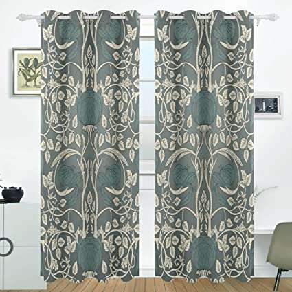 JSTEL William Morris Curtains Drapes Panels Darkening Blackout Grommet Room  Divider For Patio Window Sliding Glass