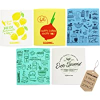 (5) - EcoJeannie Eco-Friendly Cleaning Cloth 100% Biodegradable Cellulose Sponge Cloths, Kitchen Cloths, GMO Free - Made in Germany Packaged in P.R.C. (5 Pack)