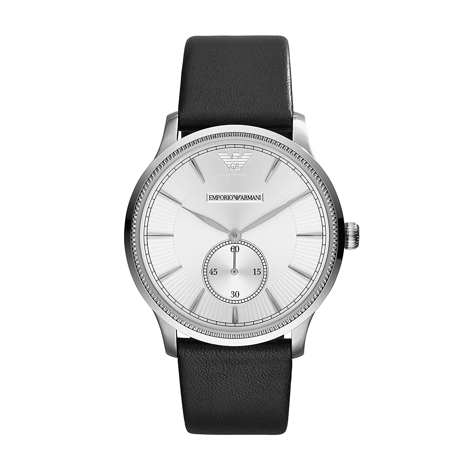 3e51ed9ba0 Emporio Armani Unisex Quartz Watch with Silver Dial Analogue Display and  Black Leather Bracelet AR1797: Amazon.co.uk: Watches