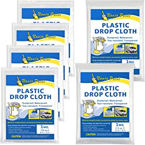 Plastic Drop Cloth 1 Mil Thickness Painters Clear Polyethylene Drop Cloths, Plastic Tarp Waterproof Plastic Cover Clear Tarp Plastic Sheeting for Painting,Furniture Cover(6 Pack)