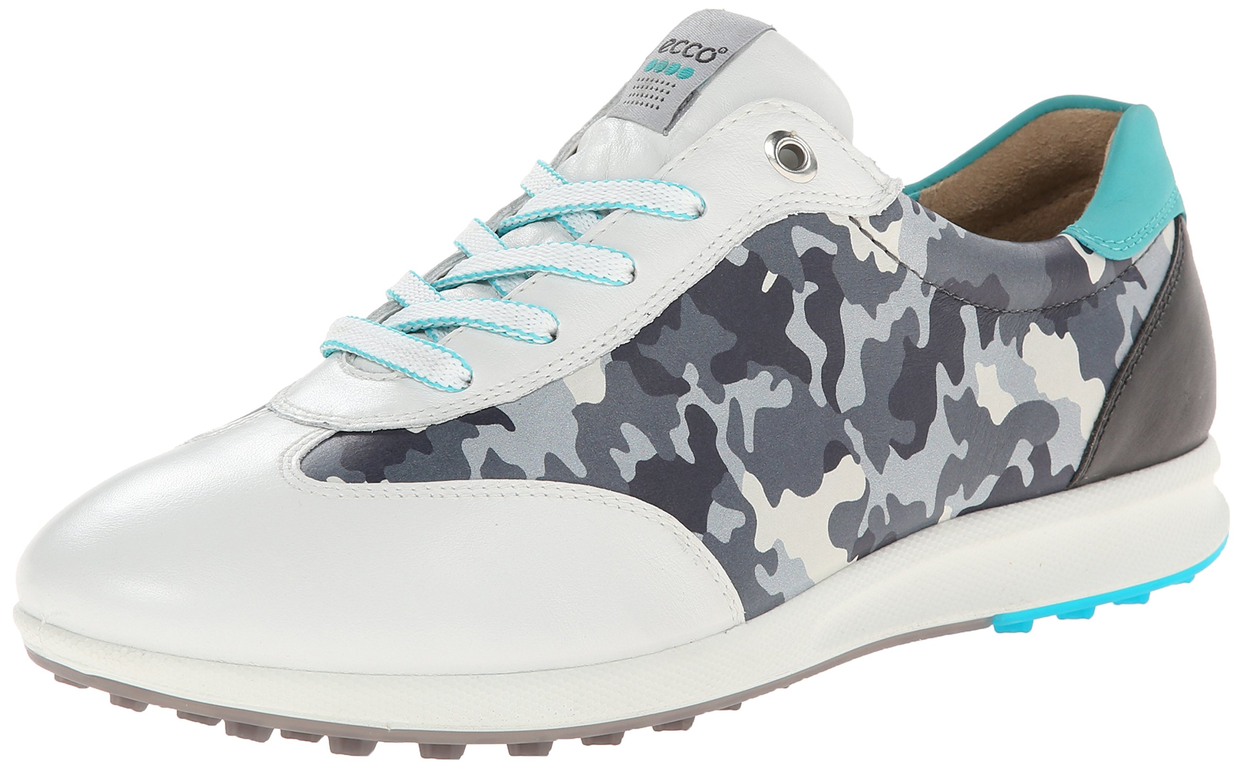 ECCO Women's Street EVO One Camo Golf Shoe,White/Turquoise,40 EU/9-9.5 M US