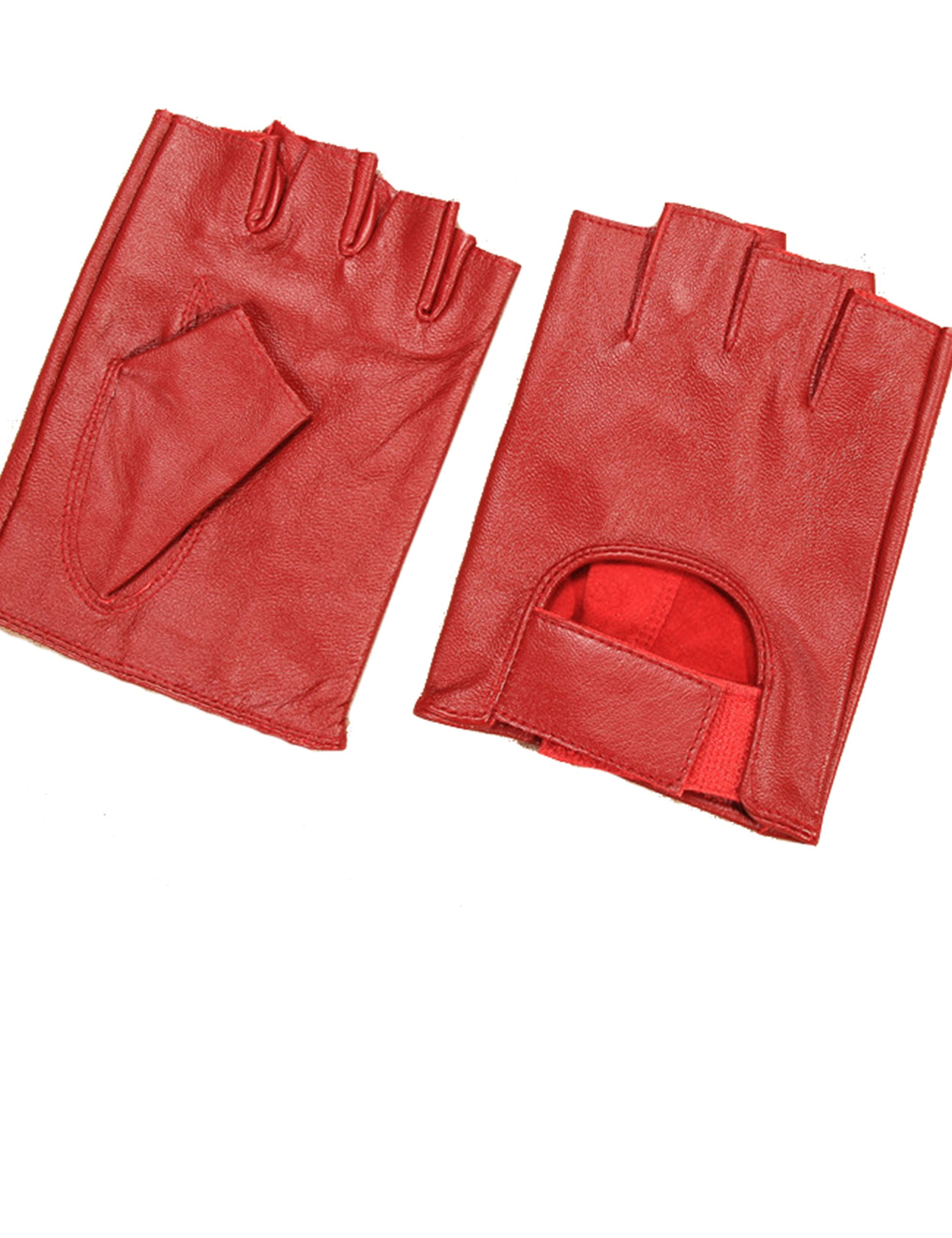 May&Maya Women's Genuine Nappa Leather Fingerless Motorcycle Fashion Driving Gloves (Red M)