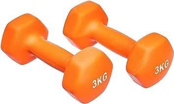 AmazonBasics - Par de mancuernas de neopreno, 2 x 3 kg, Naranja ...