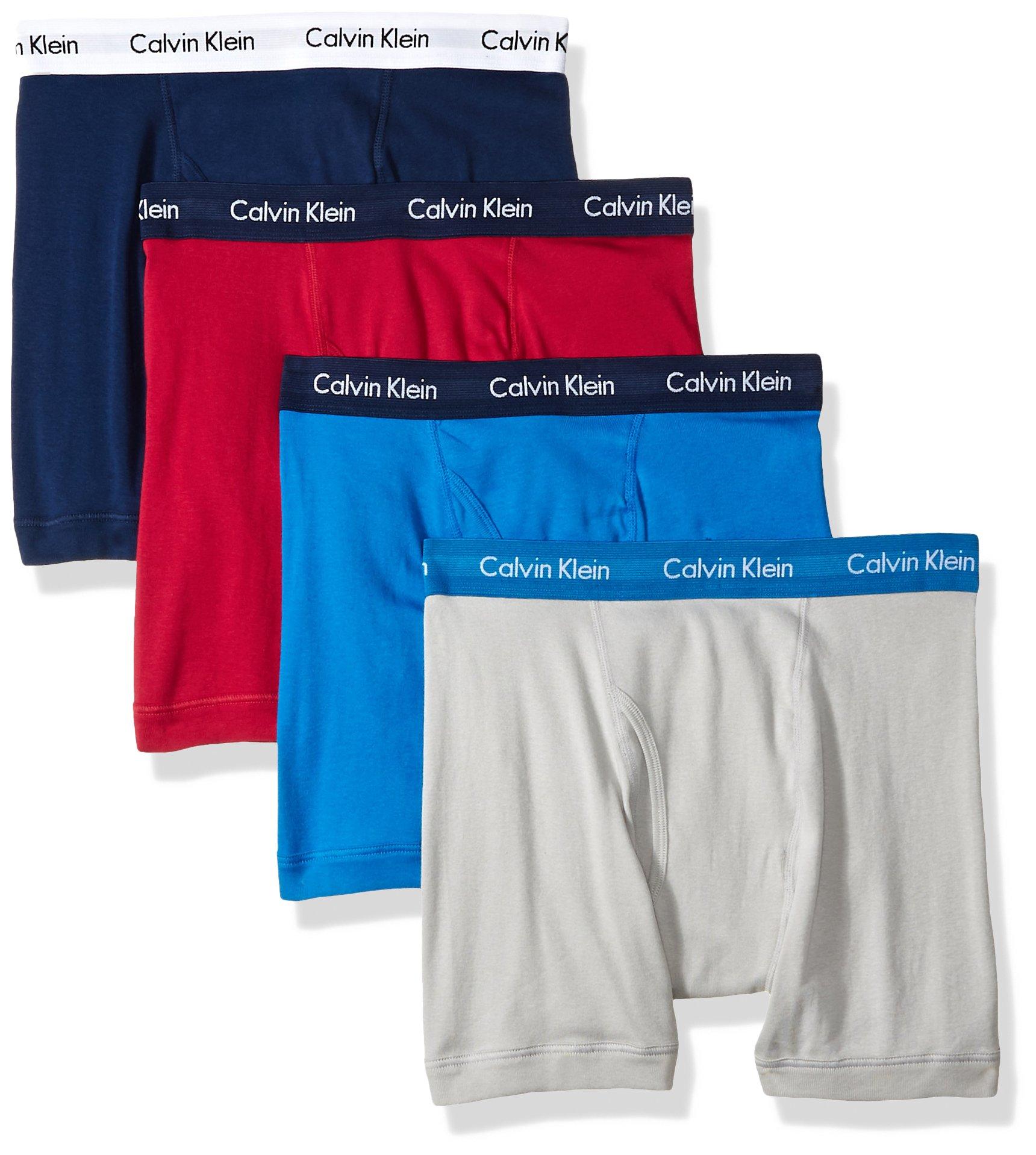 Calvin Klein Men's Cotton Classics Multipack Boxer Briefs, Gaze/Summer Blue/Amaranth/Tuscan Navy, Medium