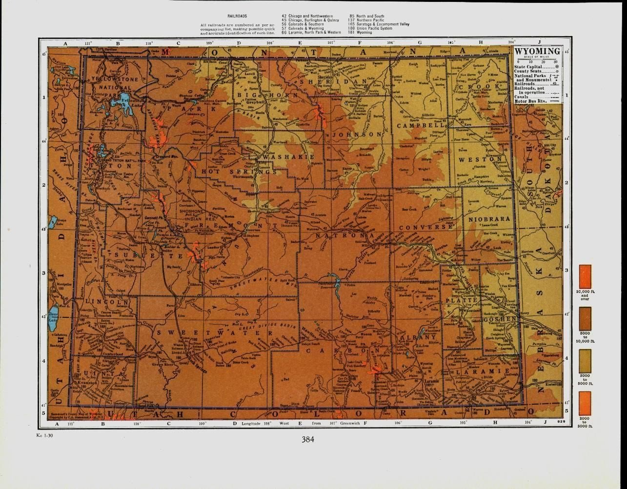 Lincoln County Wyoming Map.Amazon Com Wyoming Carbon Lincoln Crook Sheridan County C 1920