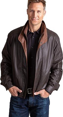 Overland Sheepskin Co Landon Lambskin Leather Bomber Jacket
