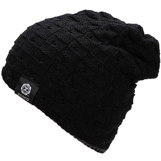 d529c6bb2 zenco Men/Women's Winter Handcraft Knit Dual-Layered Slouchy Beanie Hat