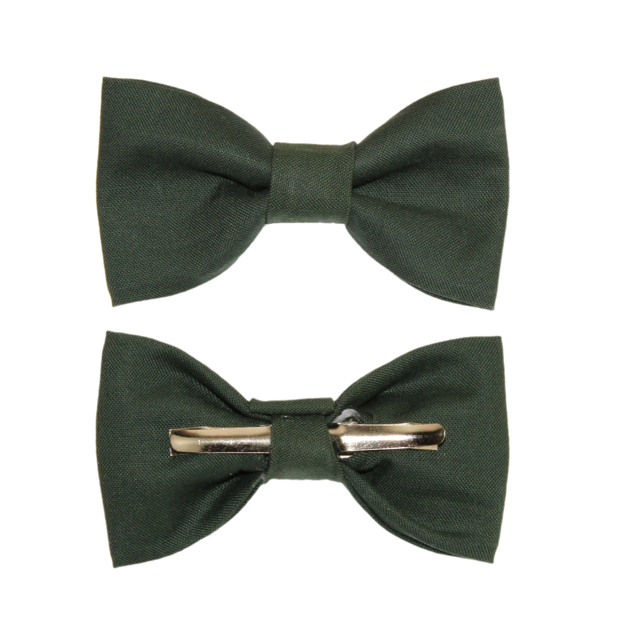 Toddler Boy 4T 5T Boys Hunter Green Clip On Cotton Bow Tie - Made In The USA