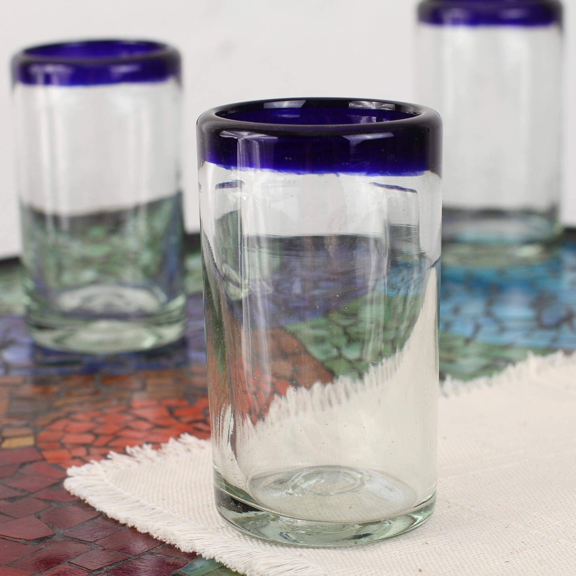 NOVICA Artisan Crafted Hand Blown Clear Blue Rim Recycled Glass Juice Glasses, 8 oz. 'Cobalt' (set of 6) by NOVICA (Image #3)