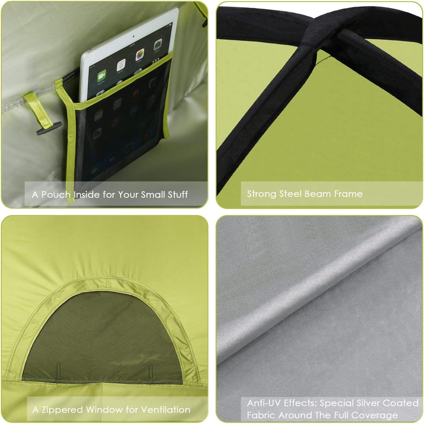 2 ou 3 Personnes Abri de Plage Portable Escamotable avec UPF50 Anti UV Chevilles pour Fixation et Sac de Transport pour Camping Inclus INTEY Tente de Plage en Forme Coquillage Bleu ou Jaune