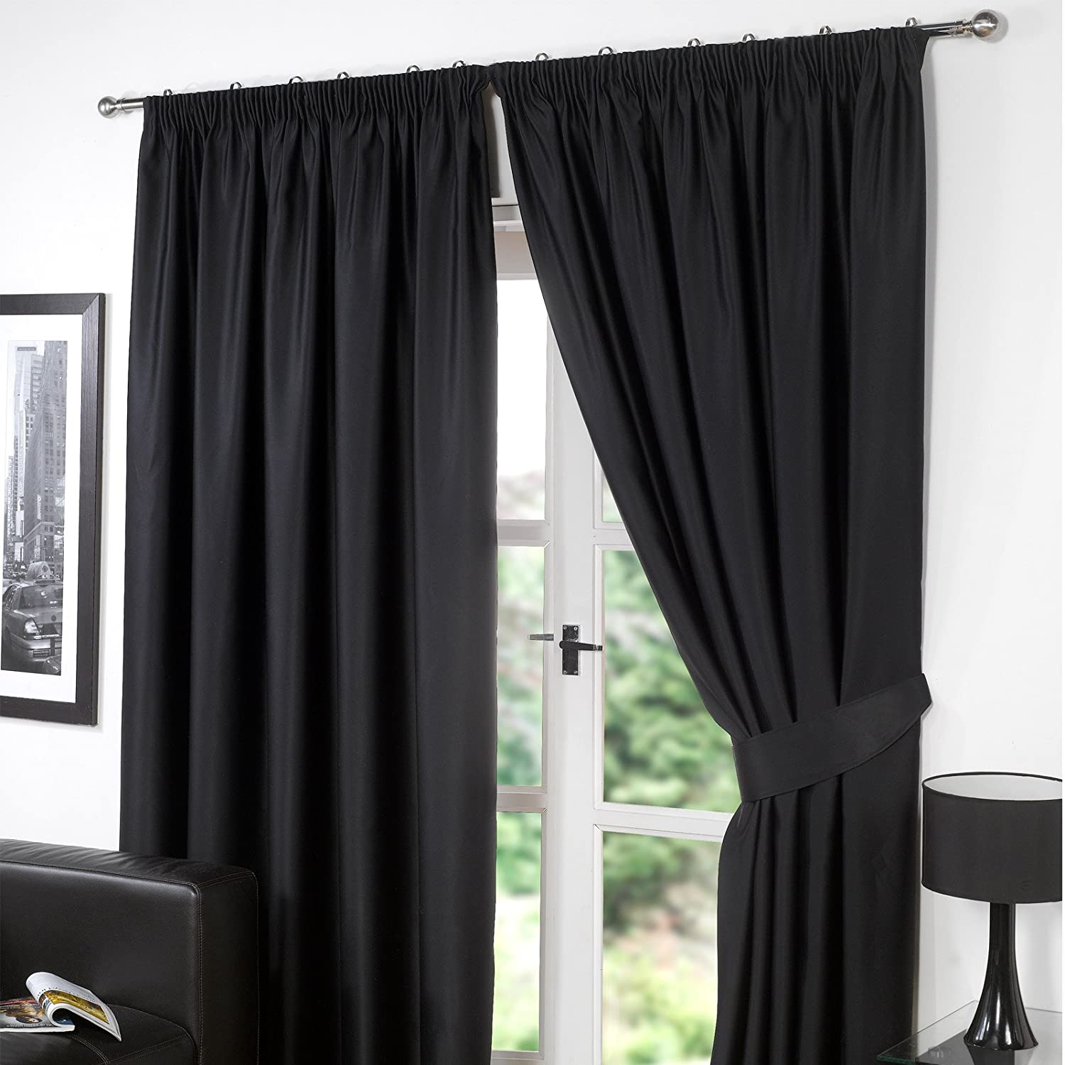 Dreamscene Pencil Pleat Blackout Curtains Set of 2 Thermal Tape Top Heading Panels Ready Made, Black - Width 46