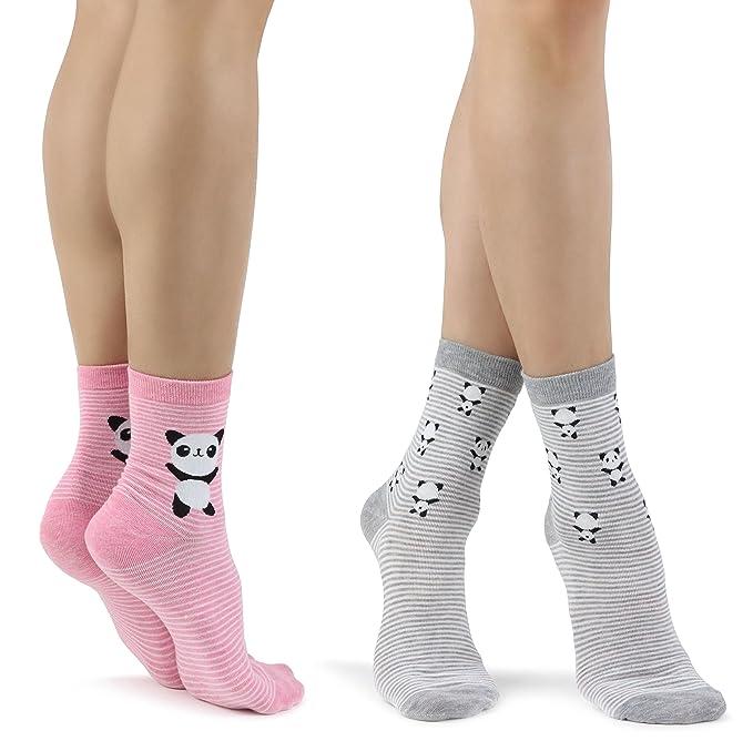 Mixmi Boutique Calcetines de rayas rosadas y grises de Panda para mujeres en caja de regalo