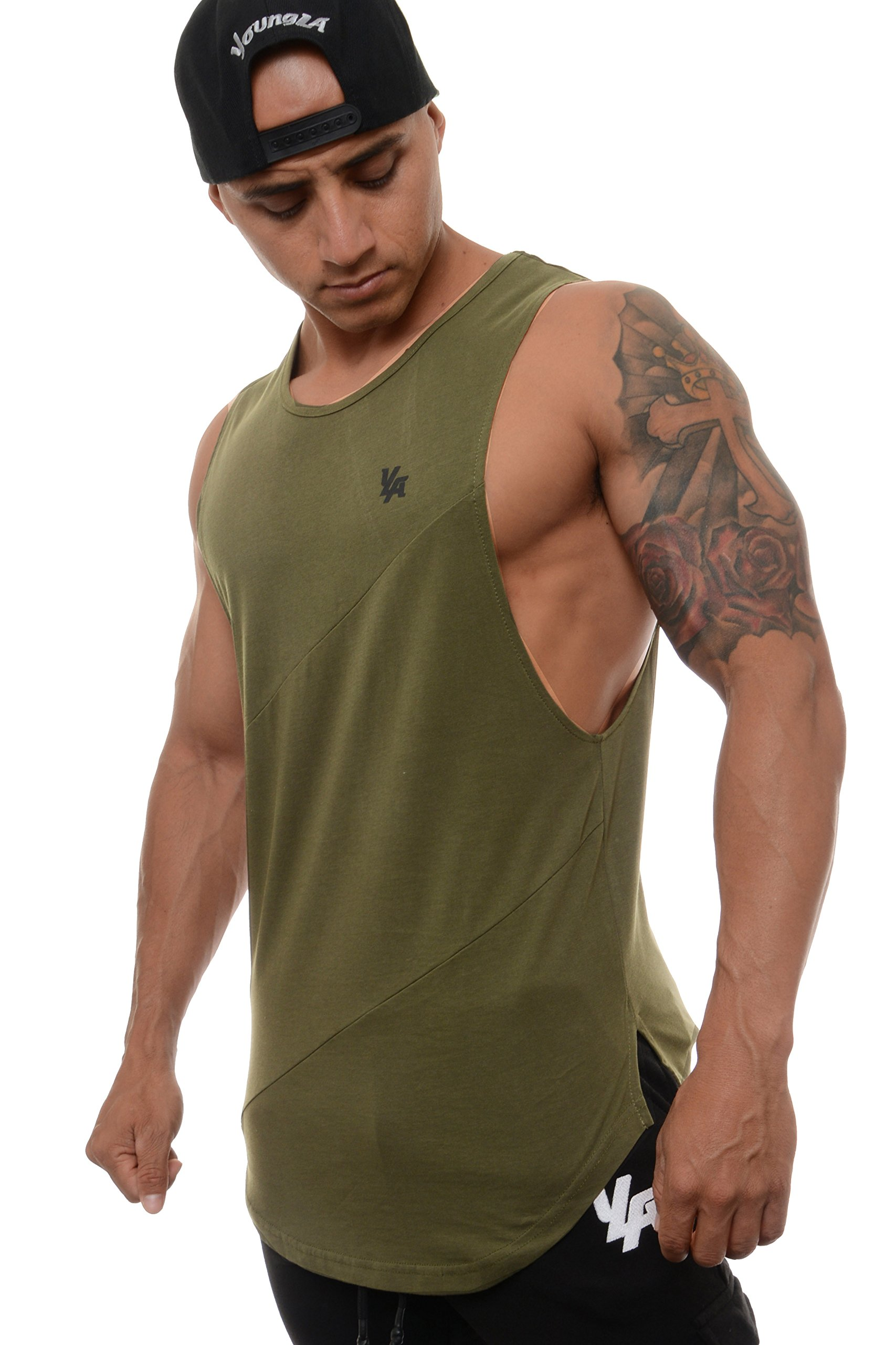 YoungLA Long Tank Tops for Men Muscle Shirt Bodybuilding Gym Athletic Training Sports Everyday Wear 306 Olive Small