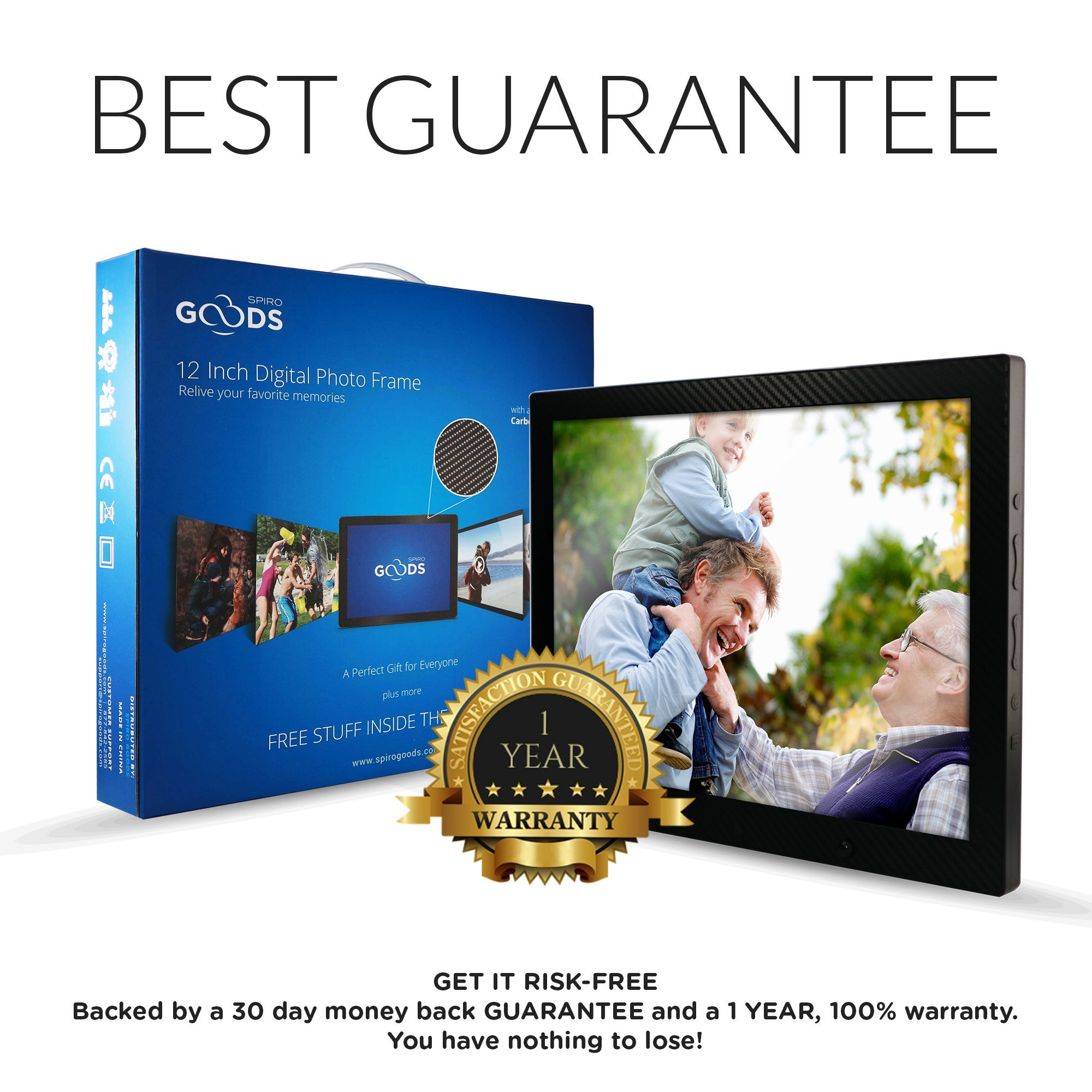 12 inch HD Digital Picture Frame Carbon Fiber - 1080p High Definition Electronic Photo Frame With Video, 16GB Memory, Motion Sensor, Built-In Speakers & Remote Control - (Black) by Spiro Goods (Image #7)