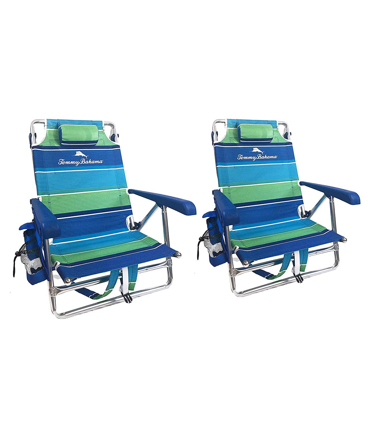 Tommy Bahama 2019 2 Backpack Beach Chairs with Storage Pouch and Towel Bar