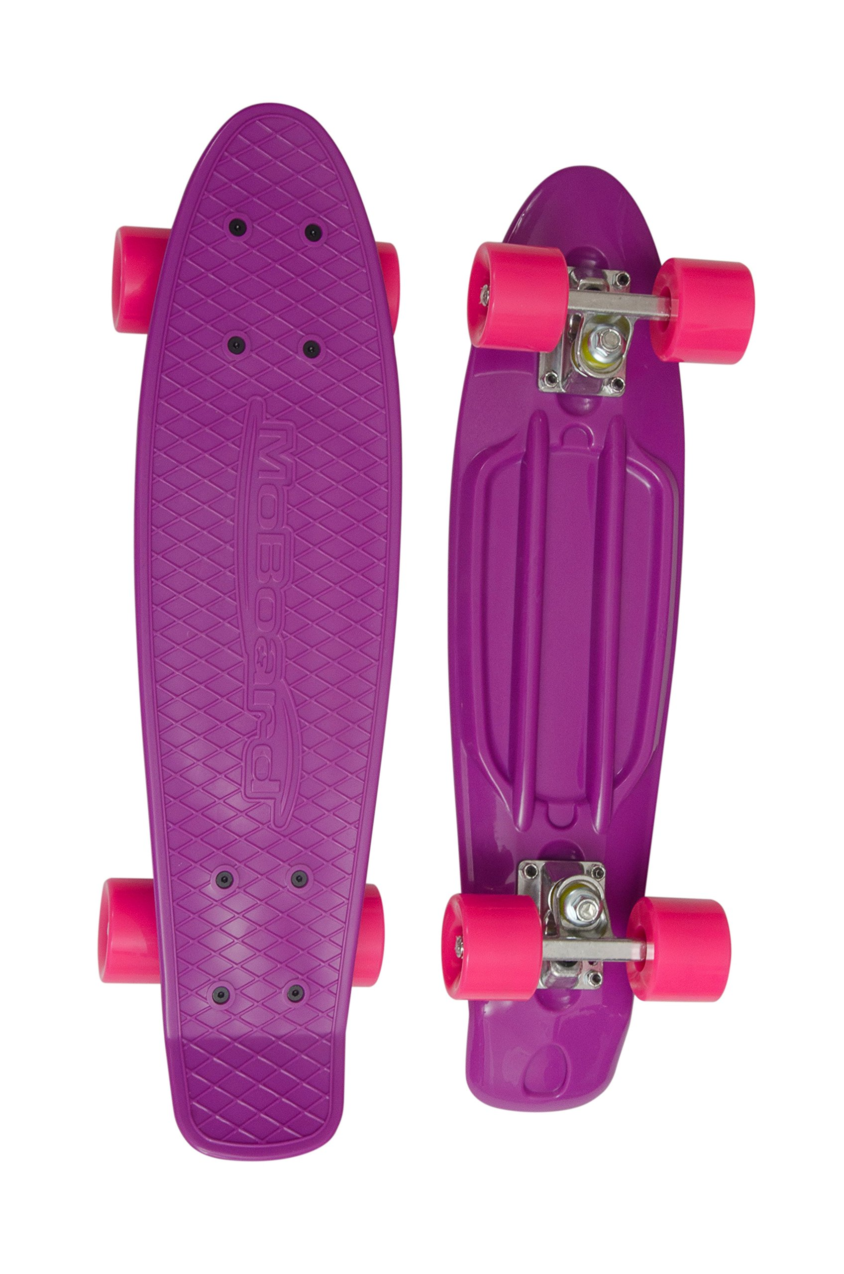 MoBoard Graphic Complete Skateboard | Pro/Beginner | 22 inch Vintage Style with Interchangeable Wheels (Purple/Pink)