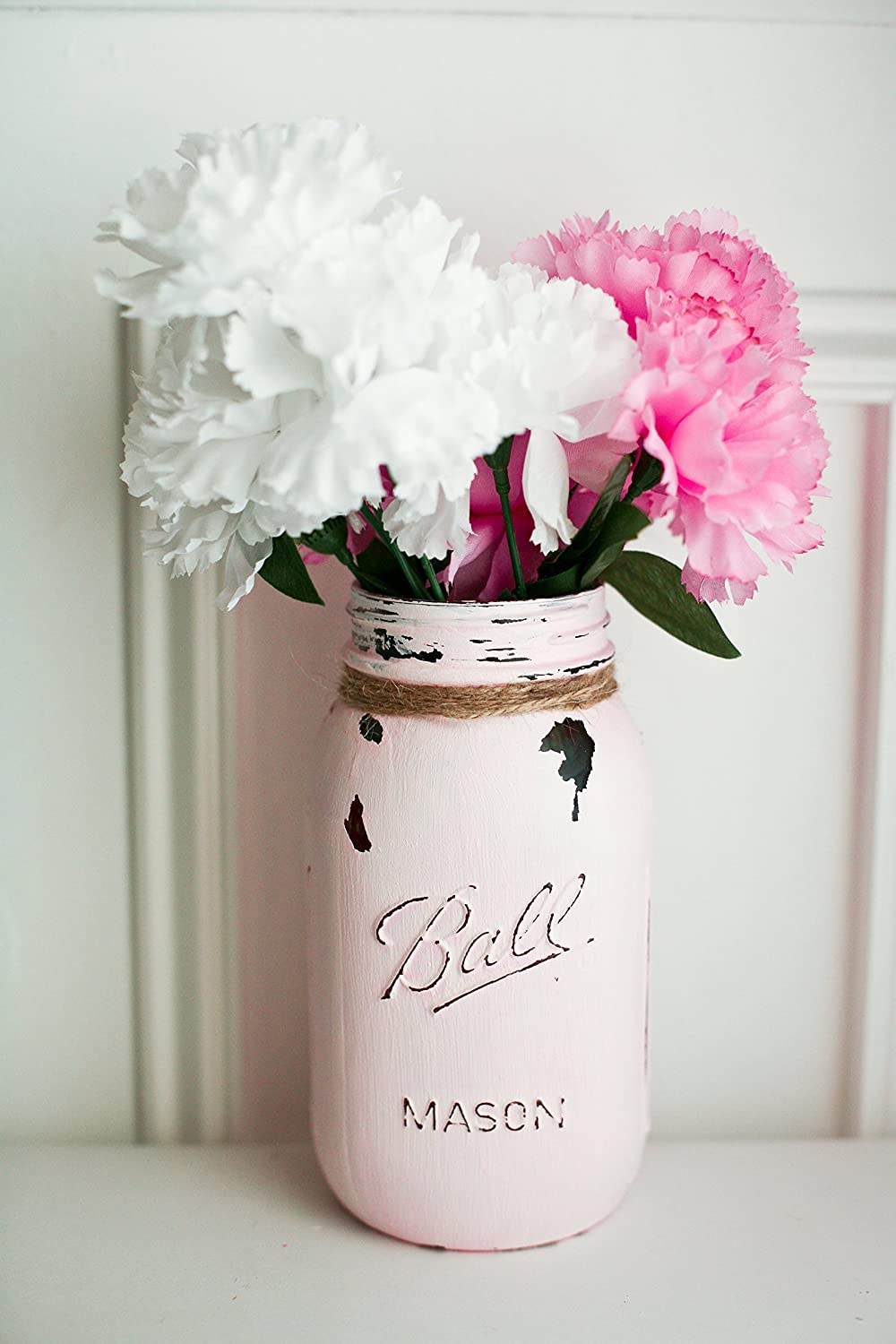 Amazon Light Pink Painted Distressed Mason Jar Vase Blush