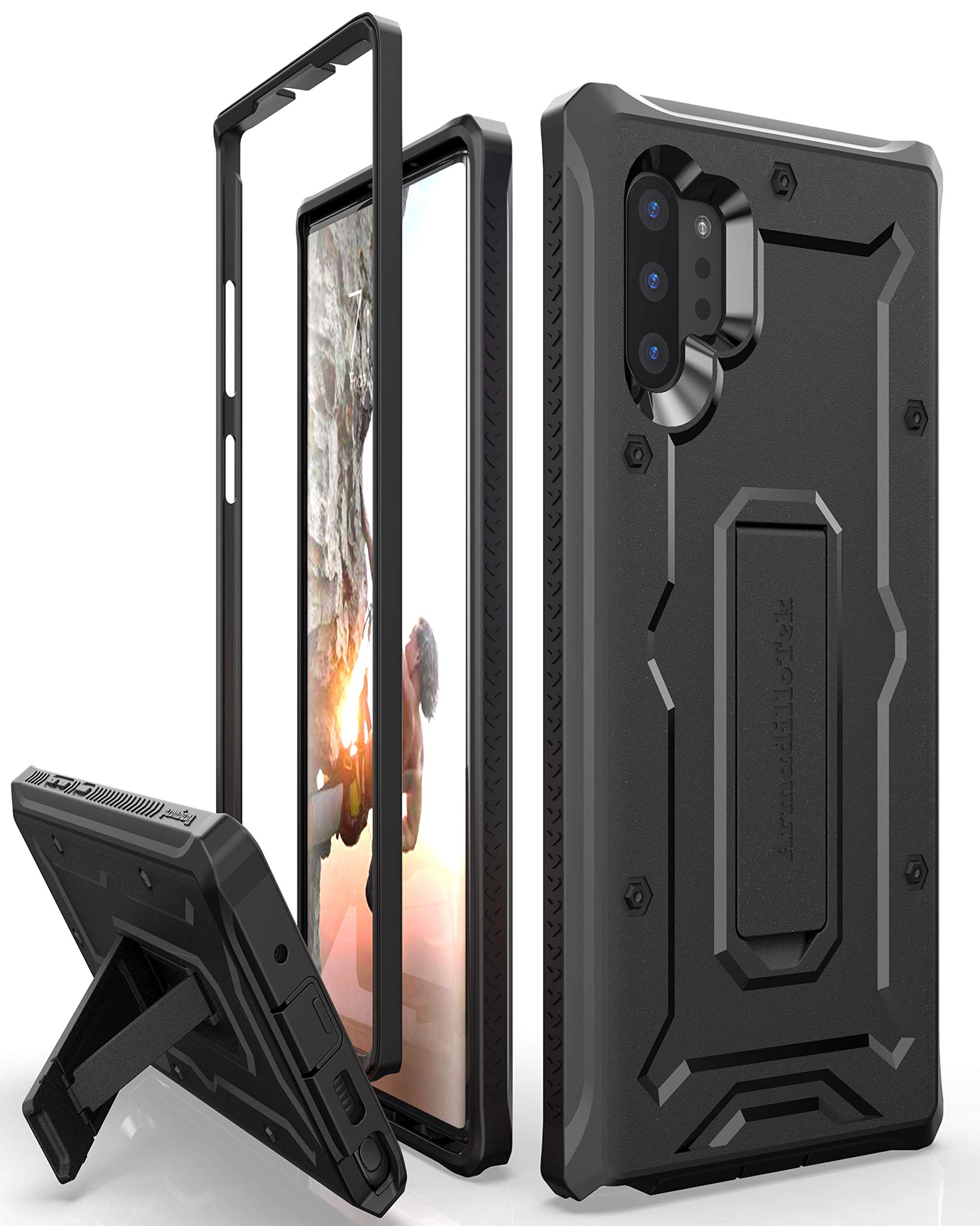 ArmadilloTek Vanguard Designed for Samsung Galaxy Note 10+Plus / Note 10 Plus 5G Case (2019 Release) Military Grade Full-Body Rugged with Kickstand Without Built-in Screen Protector - Black by ArmadilloTek