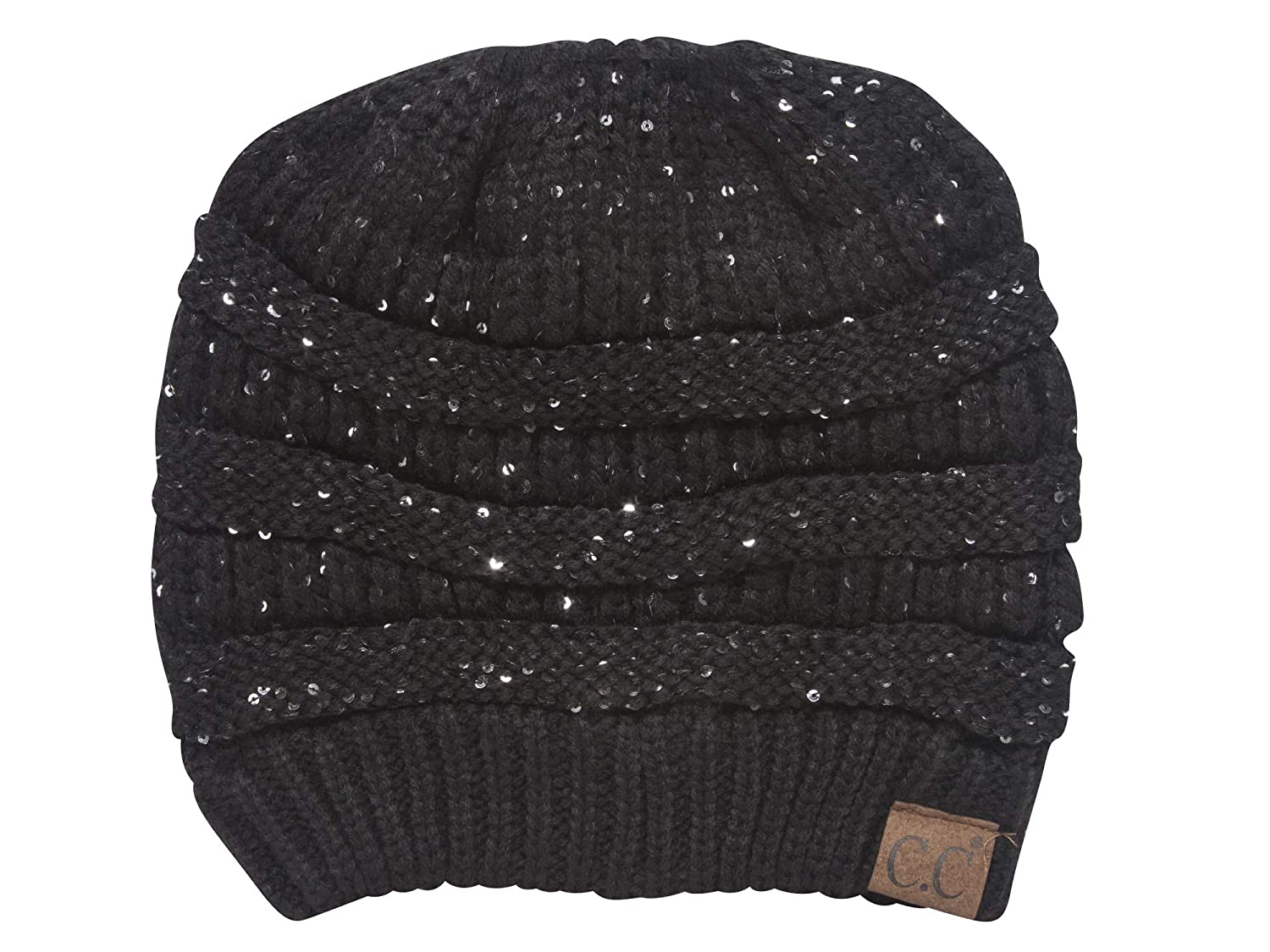 b34aa7437 C.C Ponytail Knitted Beanie w/Sequins - Black at Amazon Women's ...