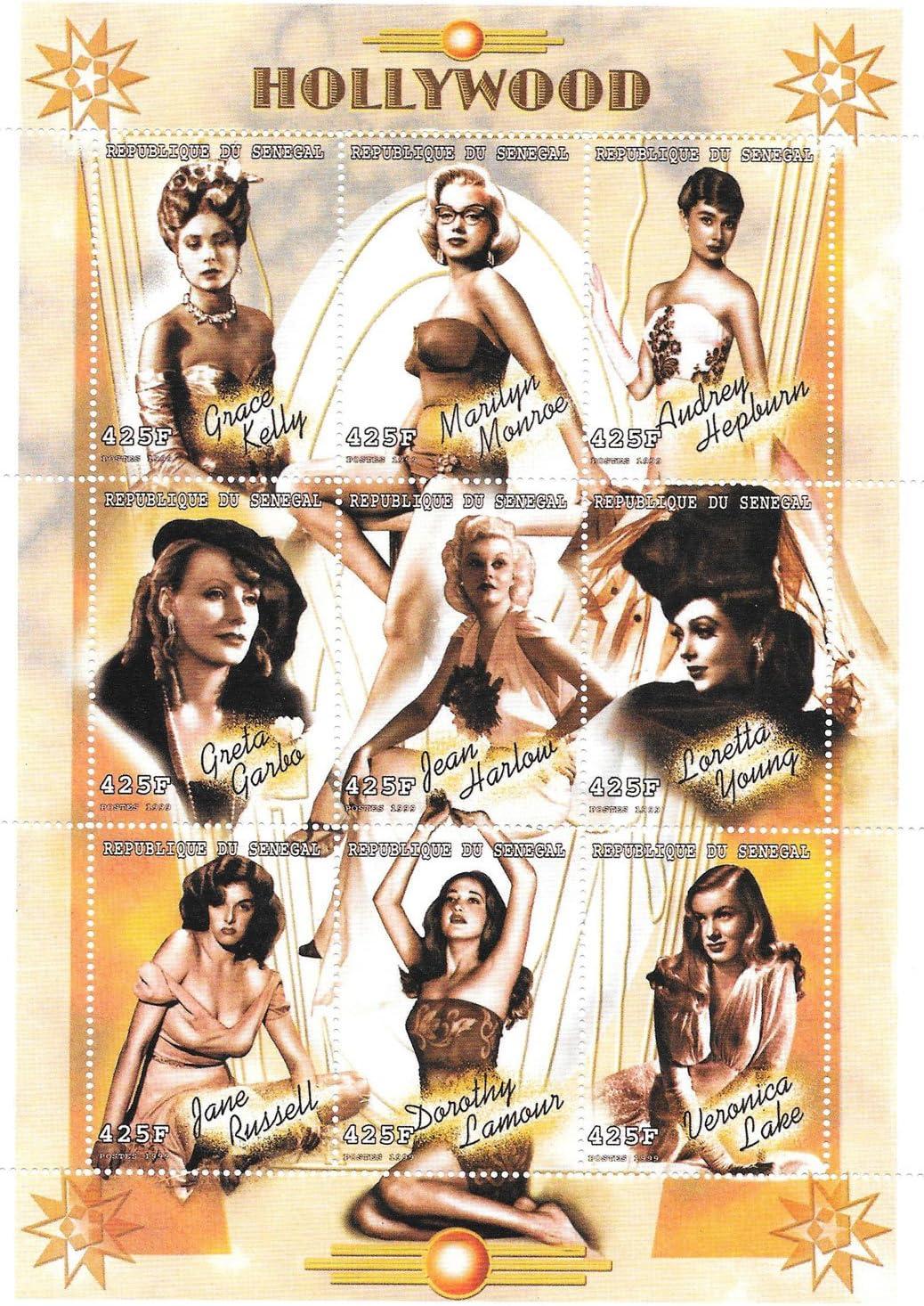 Timbres 1999 Femme stars du cin/éma Hollywood Femmes MNH Souvenir Sheet S/én/égal