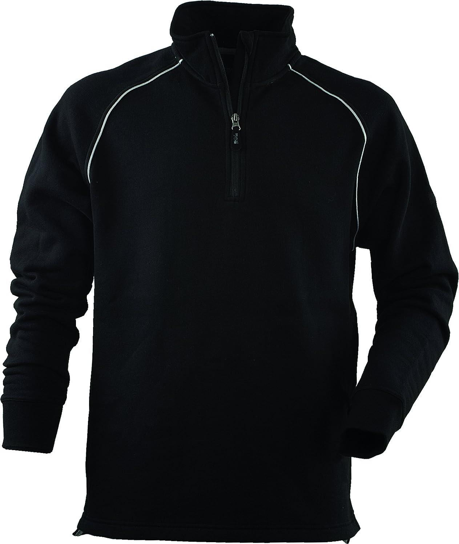 JOB Sweatshirt Troyer Hoodie schwarz mit Reflexstreifen und Reißverschluss