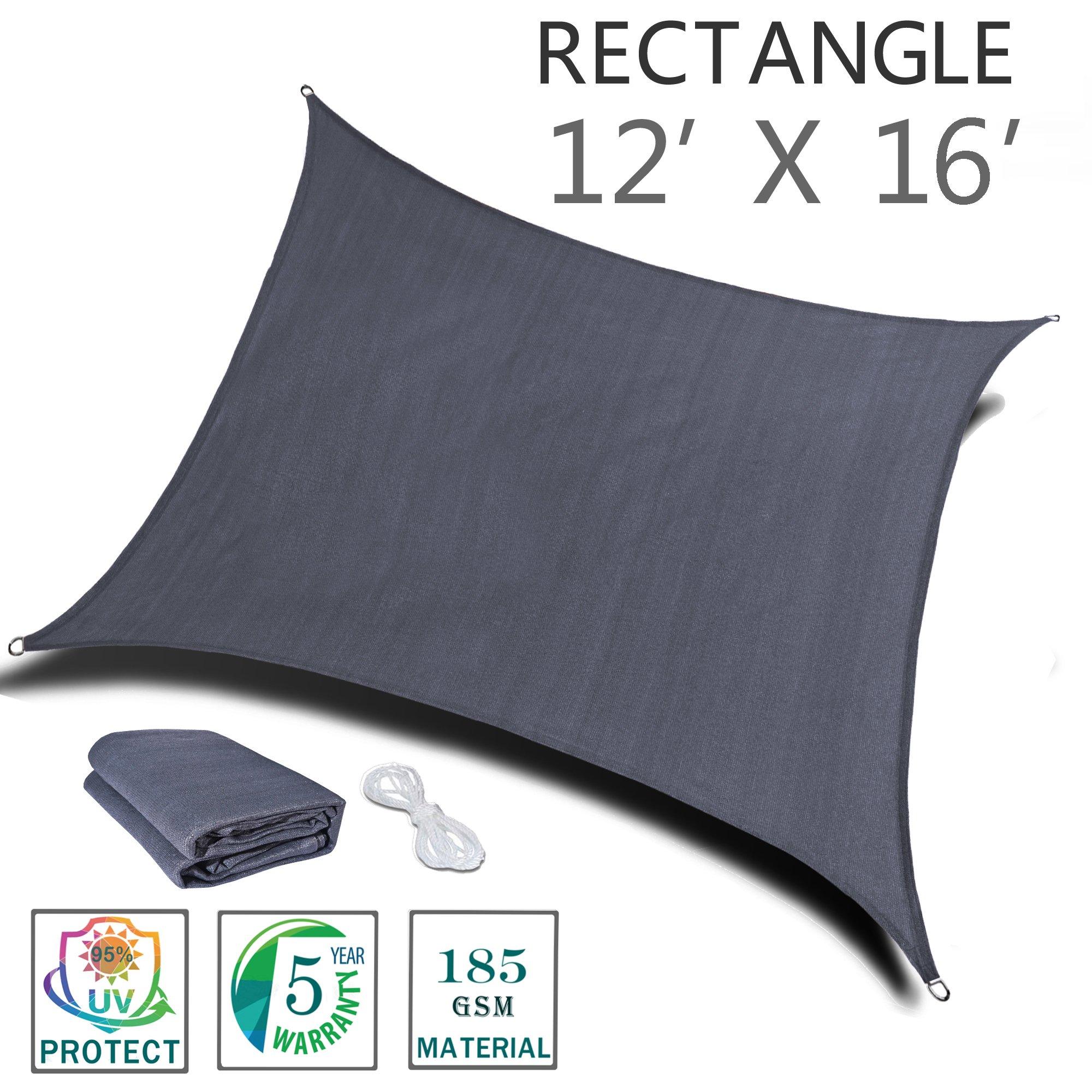 SUNNY GUARD 12' x 16' Charcoal Rectangle Sun Shade Sail UV Block for Outdoor Patio Garden