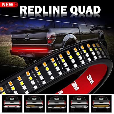 Tailgate Light Bar, Wayup 60 Inch Quad Row LED Truck Bed Light Strip with Amber Turn Signal/Double Flash, Red Brake/Running, White Reverse Light for Dodge Ram Pickup Chevy RV VAN: Automotive