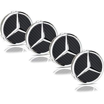 UG 4 tapones para tapacubos con el logotipo de Mercedes negro hecho de fibra de carbono ...